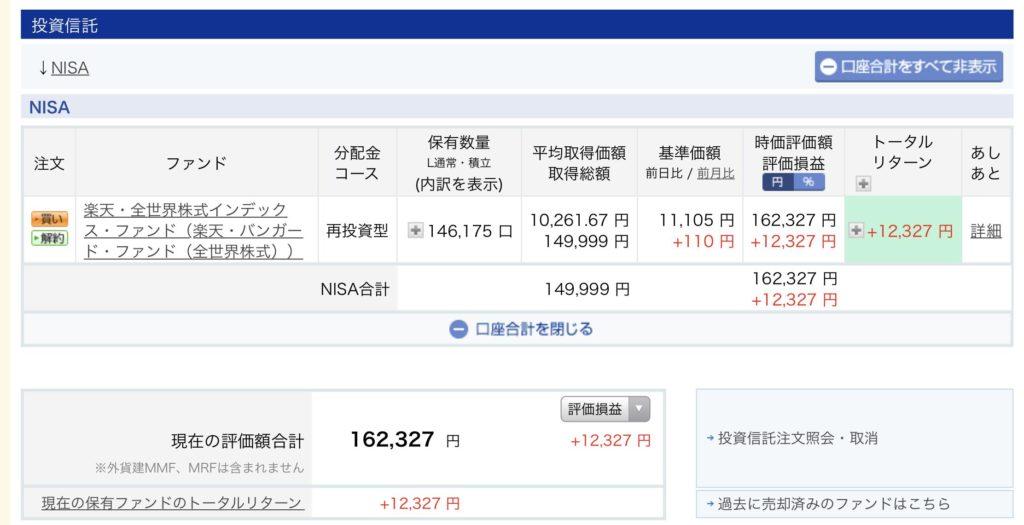 NISA口座1投資信託詳細