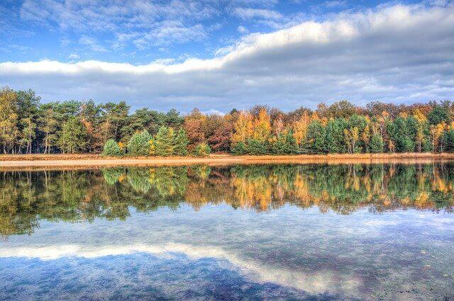 秋の湖の写真