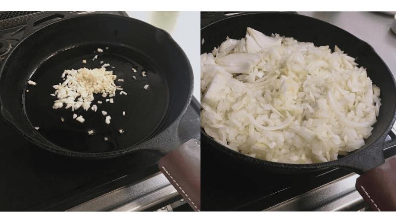 にんにく生姜玉ねぎを炒める