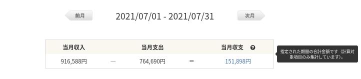 家計簿収支202107